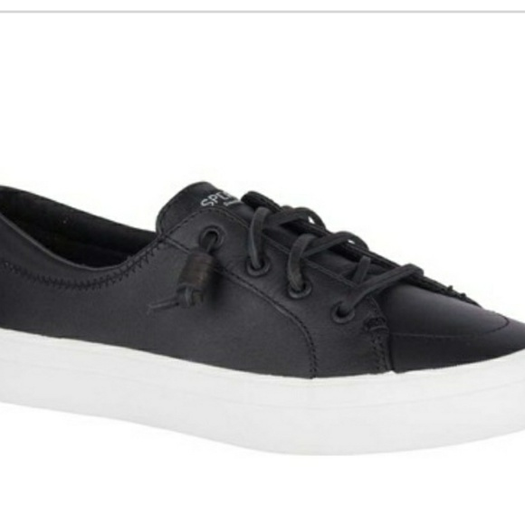 Sperry Shoes - Sherry Top Sider Black Leather Slip On Sneakers